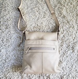 Fossil leather beige crossbody purse